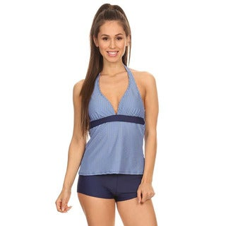 Navy Gingham Women's Two-piece Halter Tankini with Boyshorts