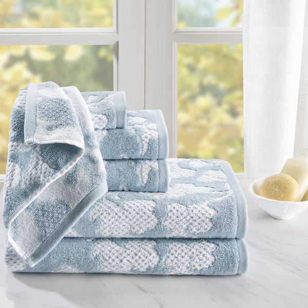 Madison Park Calliope 6 Piece Cotton Jacquard Towel Set 2-Color Options