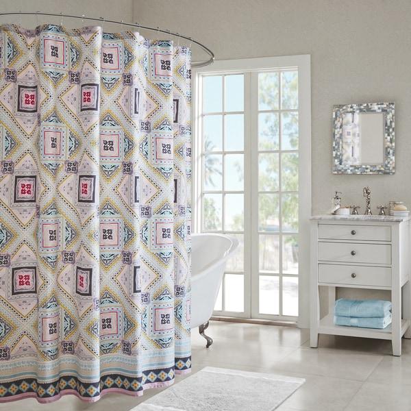 Echo Design Ibiza Multi Cotton Printed Shower Curtain