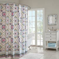 Echo Design Ibiza Multi Cotton Printed Shower Curtain