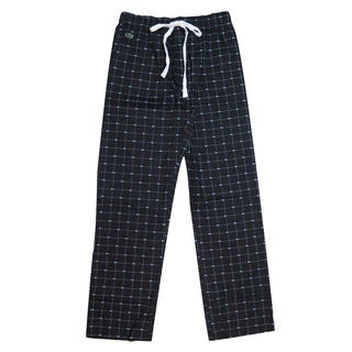 Lacoste Men's Black Cotton Croc-Print Lounge Sleep Pants
