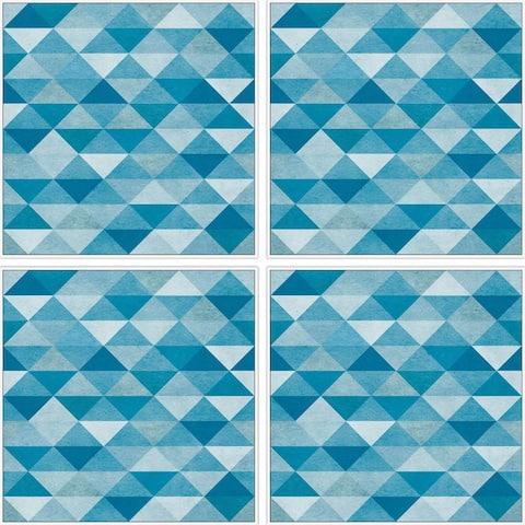 Marmont Hill - Handmade Blue Triangles Quadriptych