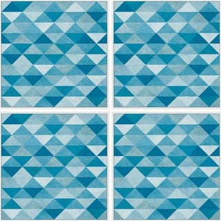 Blue Triangles Quadriptych