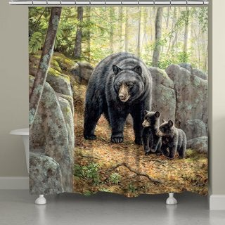 Laural Home Black Bear and Cubs Shower Curtain