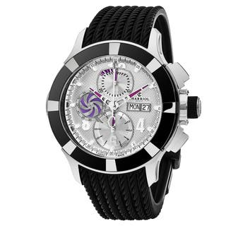 Charriol Men's C46AB.173.001 'Celtica' Silver Dial Black Rubber Strap Chronograph Swiss Automatic Watch|https://ak1.ostkcdn.com/images/products/14063351/P20676483.jpg?impolicy=medium