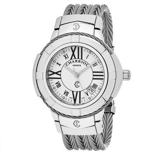 Charriol Men's CE438S.650.A005 'Celtic' White Dial Stainless Steel Swiss Quartz Watch