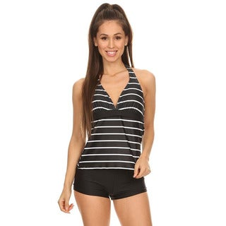 Black Stripe Womens 2-piece Halter Tankini with Boyshorts