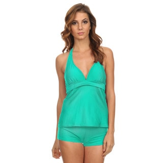 Dippin' Daisy's Women's Mint Solid Two-piece Halter Tankini with Boyshorts
