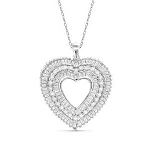 Jewelonfire 10k Gold 1ct TDW White Diamond Open Heart Pendant