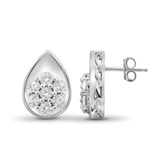 Jewelonfire 10k Gold 1/2ct White Diamond Teardrop Earrings
