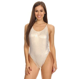 Dippin' Daisy's Women's Gold Stripe High-cut Vintage One-piece Swimsuit