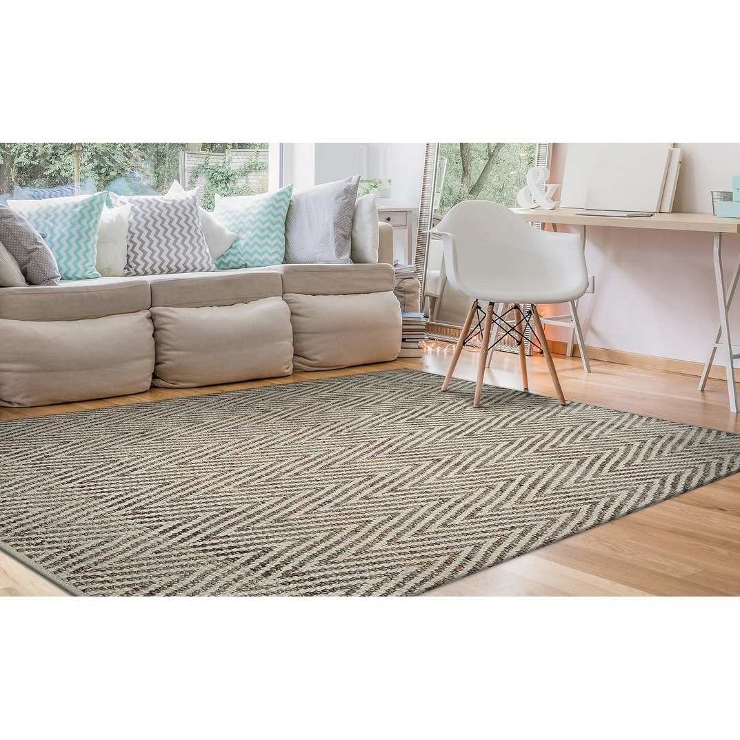 Hand-Loomed Green Leaves Mountain Ridge Straw-Timber Area Rug - 710 x 1010 (710 x 1010 - Straw/Timber)