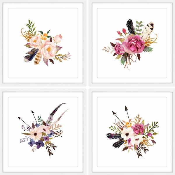 Marmont Hill - Handmade Floral Sprays Quadriptych - Multi-color. Opens flyout.