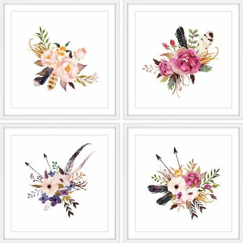 Floral Sprays Quadriptych - Multi-color