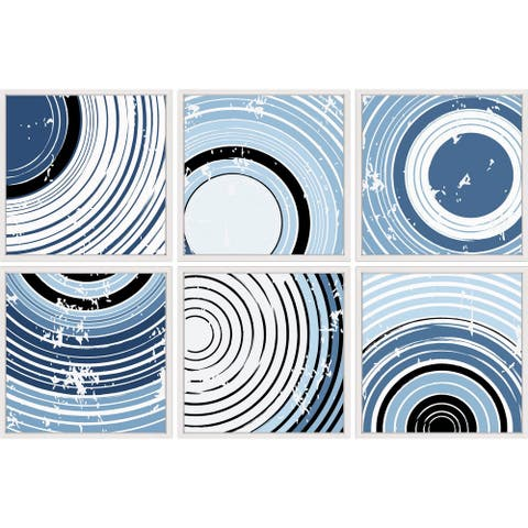 Marmont Hill - Handmade Swirling Circles Hexaptych - Multi-color