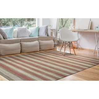 Nature's Elements Hand-loomed Couristan Red/White Straw Awning Stripes Rug (2' x 3')