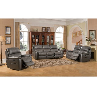 Otis Grey Top Grain Leather Lay Flat Reclining Sofa, Loveseat, and Chair Set