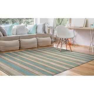 Couristan Nature's Elements Arctic Blue/White Straw Awning-striped Hand-loomed Rug (2' x 3')