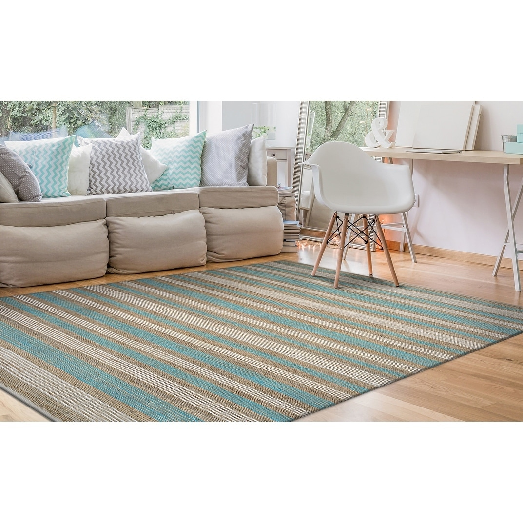 Hand-Loomed Green Leaves Marquee Stripe Straw-Arctic Blue-White Area Rug - 5 x 8 (5 x 8 - Straw/Arctic Blue/White)