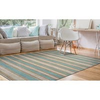 Couristan Nature's Elements Awning Stripes/Straw-Arctic Blue-White Rug - 5' x 8'