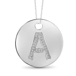 Jewelonfire Sterling Silver White Diamond Accent A to Z Initials Pendant