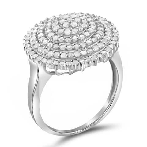 Jewelonfire Sterling Silver 1ct TW White Diamond Ring