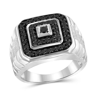 Jewelonfire Sterling Silver 1ct TW Black Diamond Multi-Level Men's Ring - White