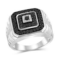 Jewelonfire Sterling Silver 1ct TW Black Diamond Multi-Level Men's Ring - White