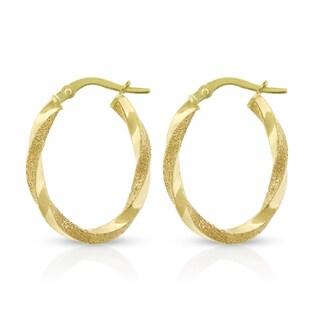 14k Yellow Gold Womens Fancy Spiral Twist Brushed Polish Oval Hoop Earrings