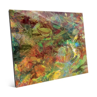 Amber Impasto Wall Art Print on Glass