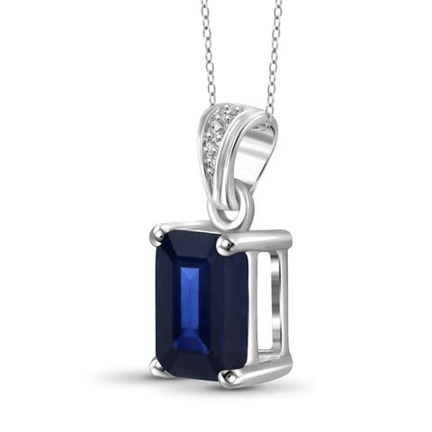 Jewelonfire Sterling Silver Genuine Sapphire Gemstone Pendant