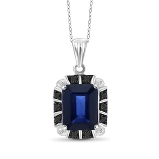 Jewelonfire Sterling Silver 1 7/8ct TW Genuine Sapphire and Diamond Accent Pendant