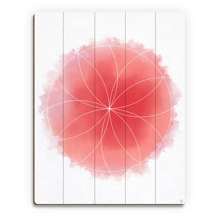 Red Watercolor Flower Geometry Wall Art on Wood