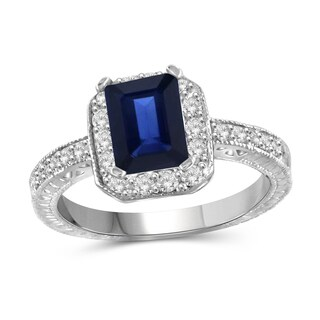 Jewelonfire Sterling Silver 1 7/8ct TW Sapphire and 1/3ct TW White Diamond Ring