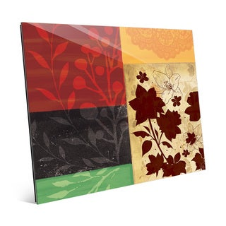 Floral Squares Wall Art Print on Glass