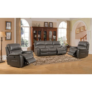 Otis Grey Top Grain Leather Lay Flat Reclining Sofa and Two Chairs