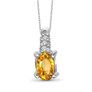 Jewelonfire Sterling Silver, Gold over Sterling Silver Citrine and White Diamond Accent Pendant