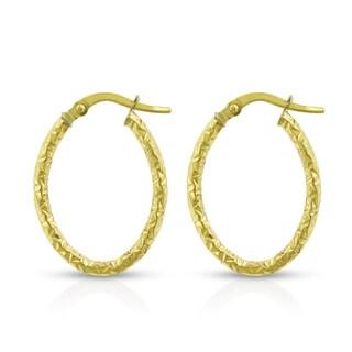 14k Yellow Gold Women's Fancy Oval Diamond-cut Hammered Tube Hoop Earrings