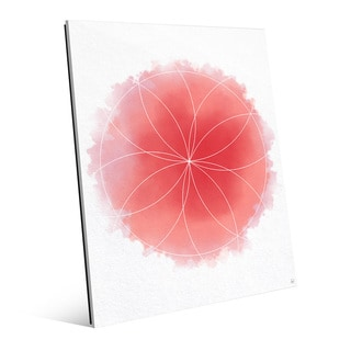 Red Watercolor Flower Geometry Wall Art on Glass