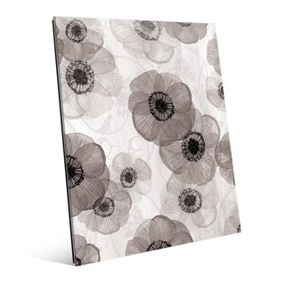 Pressed Flowers Black & White Wall Art on Glass