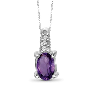 Jewelonfire 10k Gold 1/4ct TW Amethyst Gemstone and Diamond Accent Pendant