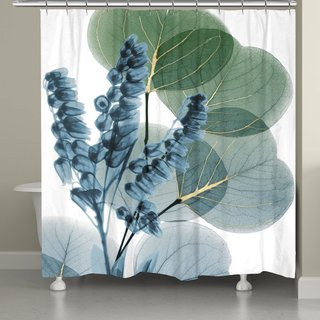 Laural Home Blue Lily of Eucalyptus Shower Curtain