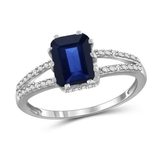 Jewelonfire Sterling Silver 1 7/8ct TW Genuine Sapphire and Diamond Accent Ring