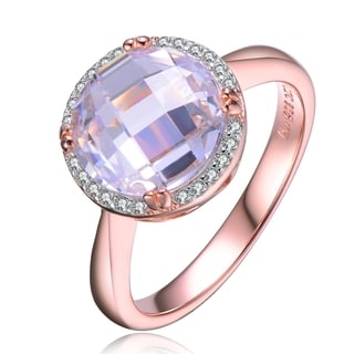 Collette Z Rose Gold Overlay White Cubic Zirconia Ring Size 6