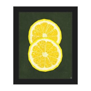 Simple Sliced Lemon Green Framed Canvas Wall Art