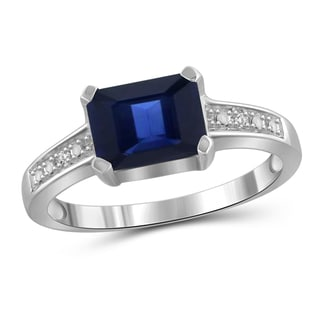 Jewelonfire Sterling Silver 1 7/8ct TW Genuine Sapphire Gemstone and Diamond Accent Ring