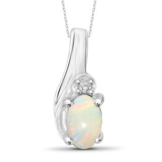 Jewelonfire Sterling Silver 1/6ct TW Opal Gemstone and Diamond Accent Pendant