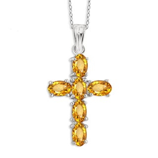 Jewelonfire Sterling Silver, Gold over Sterling Silver Citrine Gemstone Cross Pendant