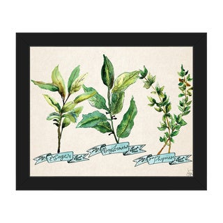 Herb Trio Blue Framed Canvas Wall Art Print