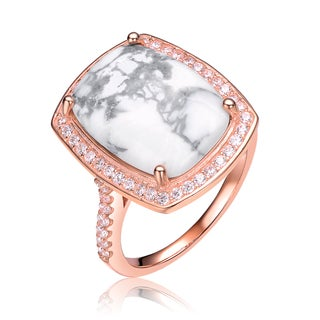 Collette Z Rose Gold Overlay How Lite Solitaire Ring - White